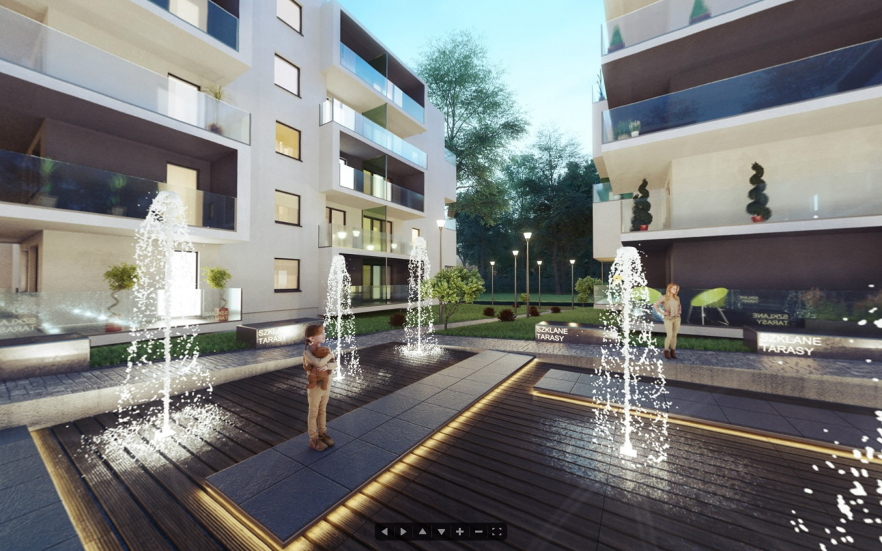 360 Degree Panorama - courtyard of Glass Terraces Housing Estate