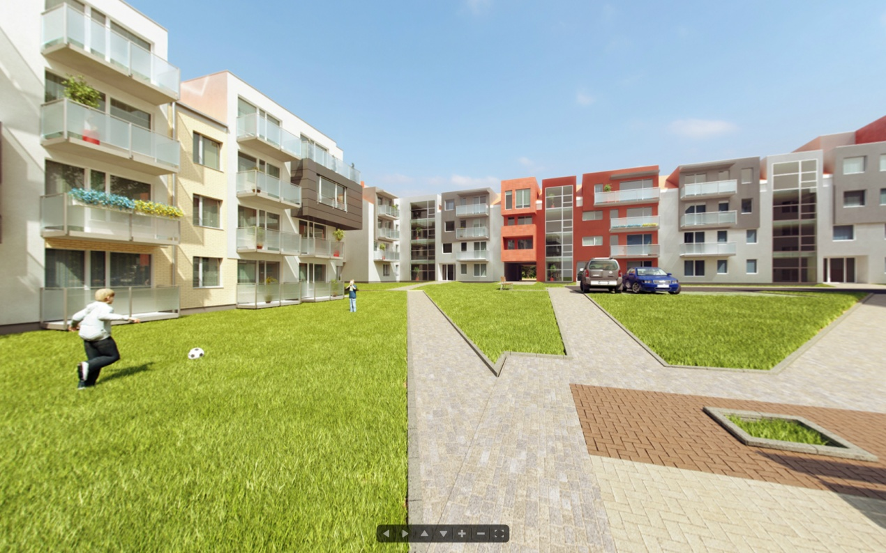 360 Degree Panorama - courtyard of Park Housing Estate