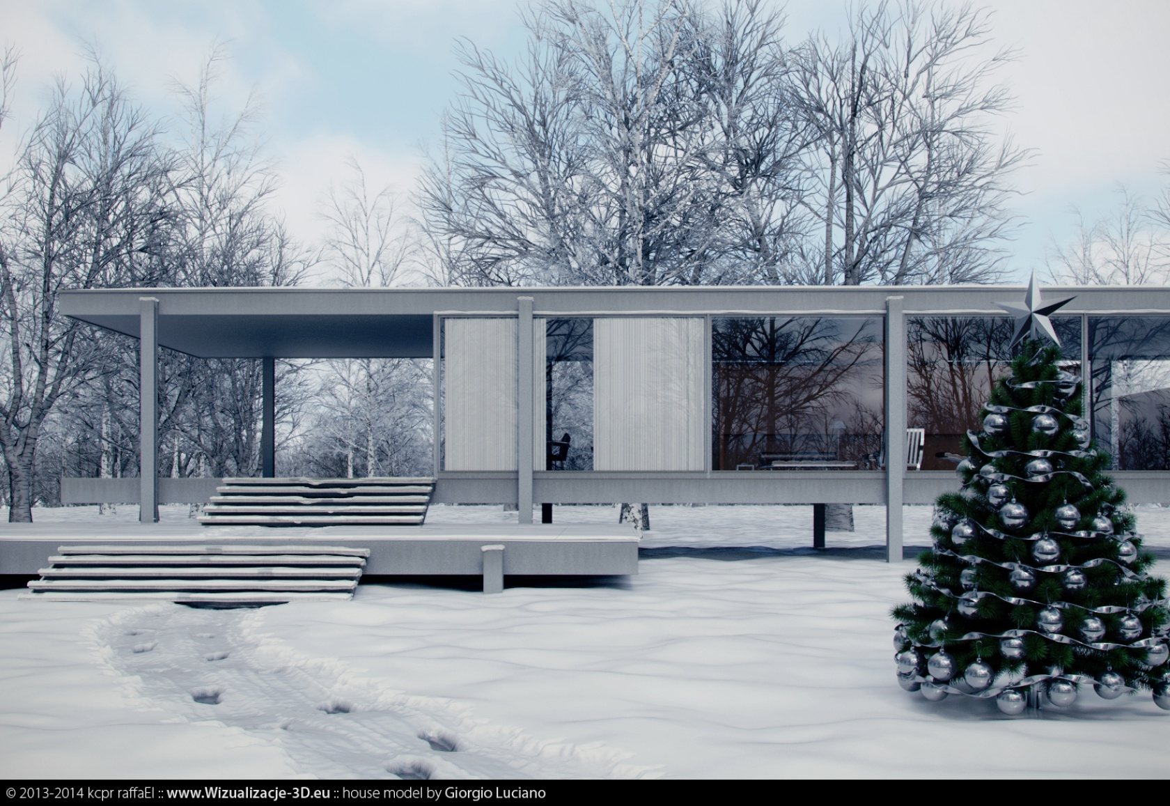Farnsworth House By Winter