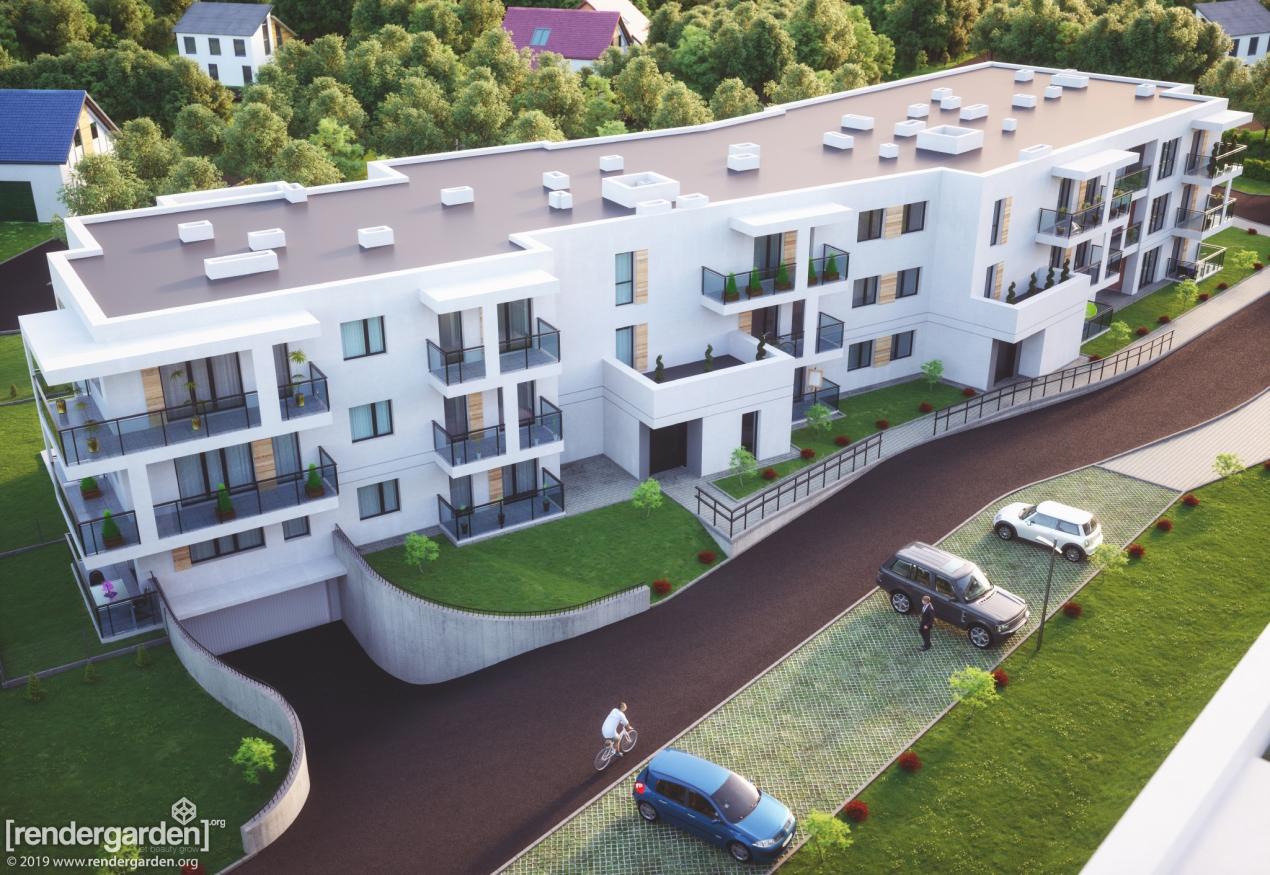 Wizualizacja Budynku Mieszkalnego w Rzeszowie - z Lotu Ptaka