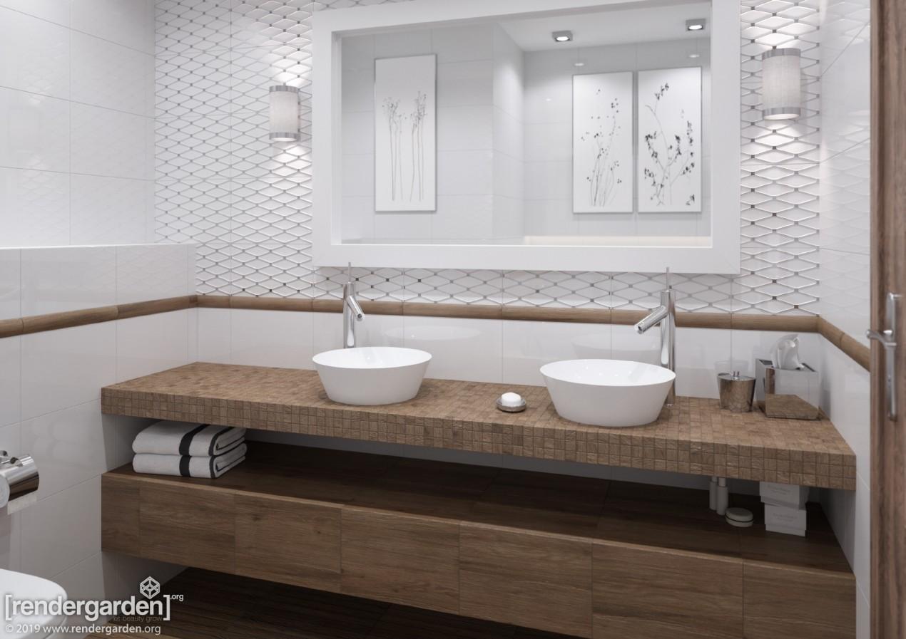 Wizualizacja łazienki z płytkami AMAZONIA